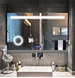 LED lighting bathroom mirror with touch button control, time display, mist-proof mirror, three times times magnification