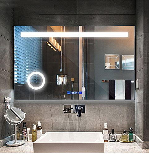 LED lighting bathroom mirror with touch button control, time display, mist-proof mirror, three times times magnification by LOKE