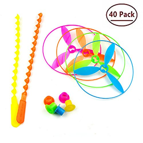 Color Flying Saucer - Bonbom Tree Dragonfly Toy Plastic Twisty Flying Saucers Spinning Shooter Flying Disc Toys for Children, Package of 40, Assorted Color