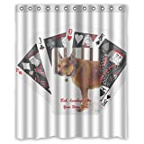 Romantic Simple COLORSFORU funny grumpy dog playing poker cards Custom Bathroom Shower Curtain 60x72 Inch Polyester Fabric