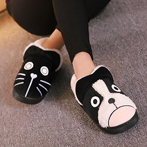 Y-Hui zapatillas de algodón Bolsa con hombres de invierno Home Furnishing zapatos de suela gruesa Interior par Black cats and dogs