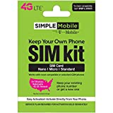 Wireless : Simple Mobile Keep Your Own Phone 3-in-1 Prepaid SIM Kit