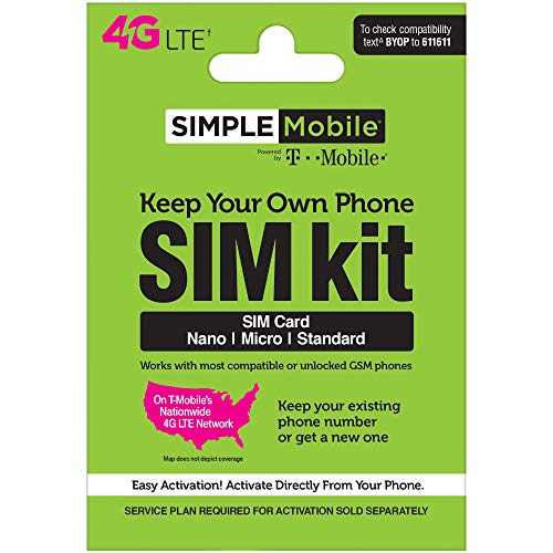 Simple Mobile 1st Month Preloaded 4G LTE 3-in-1 Nano Micro S
