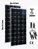 200 Watts 12 Volt Solar Panels Monocrystlline [ Pack of 2 ] Total 400 Watt Power for 12v-24v Battery System with MC4 Multibranch Connectors.