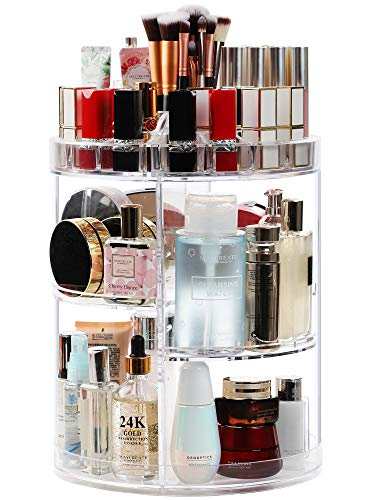 Syntus 360 Rotating Makeup Organizer, Thicker Acrylic Adjustable Bathroom Makeup Spinning Holder Rack, Transparent Larger Capacity Cosmetic Storage Box Fits Makeup Brushes, Lipsticks