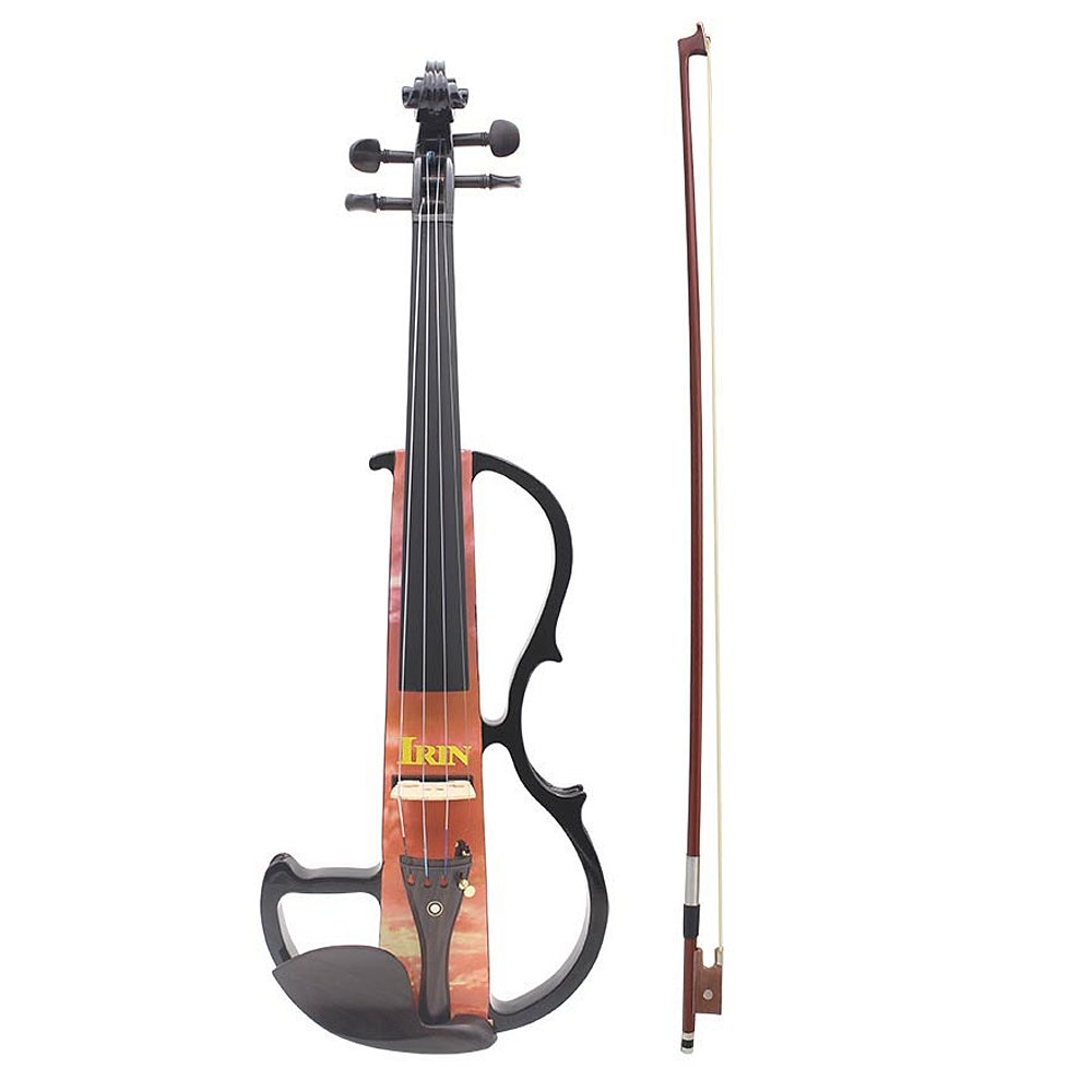 ammoon Full Size 4/4 Electric Violin Fiddle Maple Wood Stringed Instrument Ebony Fretboard Chin Rest with 1/4'' Connecting Cable Earphone Case for Music Lovers Beginners