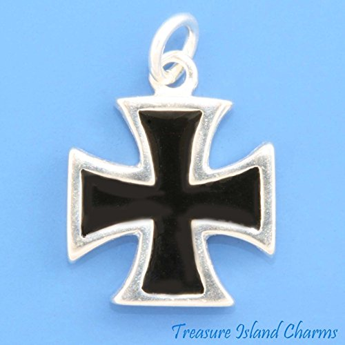BLACK ENAMEL MALTESE CROSS PATTEE .925 Sterling Silver Charm Pendant MADE IN USA Jewelry Making Supply Pendant Bracelet DIY Crafting by Wholesale Charms