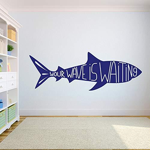 WSLIUXU Surfing Palm Shark Surfing Vinyl DIY Wall Sticker Surfing Boy Wall Decal Room Decorating Teen Boy Room Art Mural Wall Sticker Home Garden King Blue 16 164x57cm from WSLIUXU