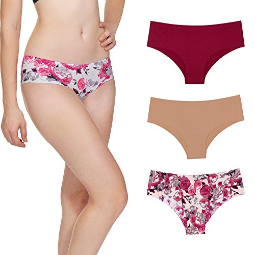 ACtex Women's Bikini Panties Seamless Lingerie Briefs Sexy No Panty Line Low Rise Underwear Hipster 3 Packs (Fit Seamless Hipster Panty)