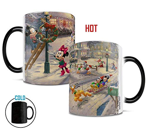 Disney - Mickey Mouse - Minnie Mouse - Victorian Christmas - Morphing Mugs Heat Sensitive Mug - Ceramic Color Changing Heat Reveal Coffee Tea Mug - by Trend Setters Ltd. (Kinkade Thomas Christmas Snowman Victorian)