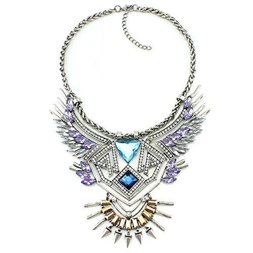 (efigo Fashion Statement Necklace Choker Collar Bib Necklace Vintage Boho Costume Jewelry for Women Girls (Purple&Blue))