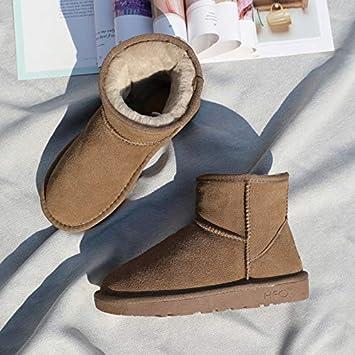 Shukun Botines Botas de Nieve de la PU Botas de Mujer Botas Bajas de Esmerilado Zapatos de algodón Delgados Botas Acolchadas Antideslizantes Algodón de ...