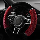 """【QIMEI】Fluffy Plush Car Steering Wheel Cover Universal Size 38cm / 15"""" Soft Fury Steering Wheel Cover Fuzzy for Women Girls Winter Warm Keeper(C-Red)"""