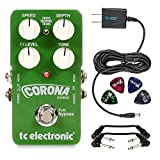 TC Electronic Corona Chorus Guitar Foot Pedal - INCLUDES - Blucoil 9V 670mA Slim Power Supply, 4 Pack of Guitar Picks AND 2 Hosa CFS-106 Molded Right-Angle Patch Cables​