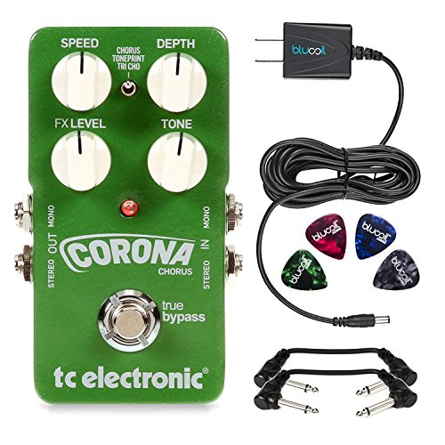 TC Electronic Corona Chorus Guitar Foot Pedal - INCLUDES - Blucoil 9V 670mA Slim Power Supply, 4 Pack of Guitar Picks AND 2 Hosa CFS-106 Molded Right-Angle Patch Cables​ by blucoil