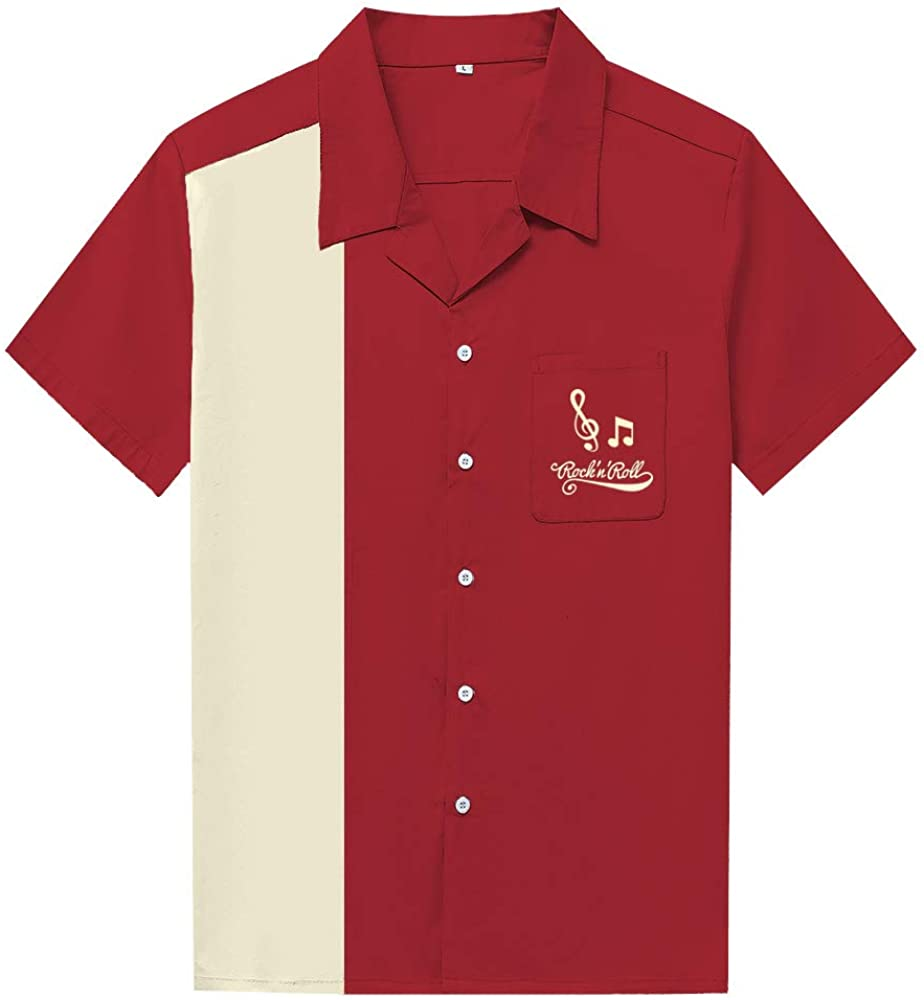 Men's Vintage Clothing | Retro Clothing for Men Anchor MSJ Mens 50s Male Clothing Cotton Men Shirts Short Sleeve Vintage Fifties Bowling Casual Button-Down Shirts  AT vintagedancer.com