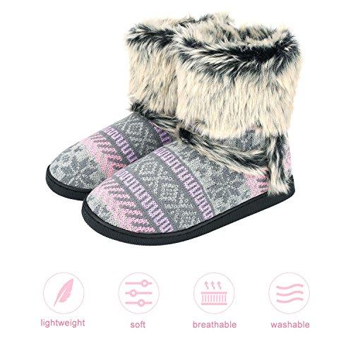Sibba Gebreide Bootie Pantoffels Halfhoge Indoor House Slipper Boots Met Pom-poms Voor Dames Dames Meisjes Roze