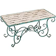 Regal Art & Gift Fleur De Lis 47.25 inches x 22.25 inches x 22.5 inches Metal Wood Table - Patio Side Tables