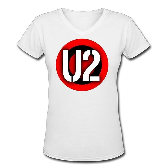 KUPIU0XXUY U2 banda Logo V cuello Diseño Camisas Camisetas Mujeres Cómodo: Amazon.es: Ropa y accesorios