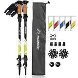 TrailBuddy Trekking Poles - 2-pc Pack Adjustable Hiking or Walking Sticks - Strong, Lightweight Aluminum 7075 - Quick Adjust Flip-lock - Cork Grip, Padded Strap