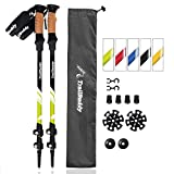 TrailBuddy Trekking Poles - 2-pc Pack Adjustable Hiking or Walking Sticks - Strong, Lightweight Aluminum 7075 - Quick Adjust Flip-lock - Cork Grip, Padded Strap - Free Bag, Accessories (Moss Green)