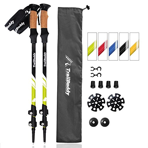 TrailBuddy Trekking Poles - 2-pc Pack Adjustable Hiking or Walking Sticks - Strong, Lightweight Aluminum 7075 - Quick Adjust Flip-lock - Cork Grip, Padded Strap - Free Bag, Accessories (Moss (Lightweight Walking Stick)