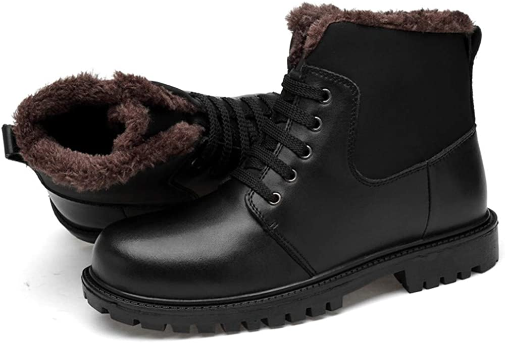 Mens Shoes Comfortable Men's Fashion Ankle Boots Casual Classic Stitching High Top Round Toe Martin Boots (Warm Velvet Optional) Fashion Warm Black