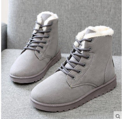 NSXZ Winter Korean version of the snow boots female boots short boots warm shoes with flat shoes with Martin cotton boots GRAY-90160CM friJ4