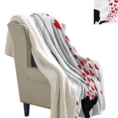 Beihai1Sun Kiss Cozy Flannel Blanket Pretty Girl Silhouette Cozy, All-Season Berber Fleece Throw Blanket 60x78 ()
