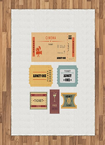 Ambesonne Movie Theater Area Rug, A Set of Retro Cinema and Other Events Tickets for One Vintage Illustration, Flat Woven Accent Rug for Living Room Bedroom Dining Room, 4 X 5.7 FT, Multicolor by Ambesonne