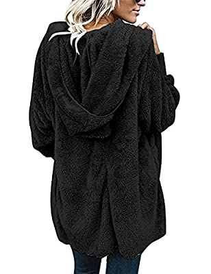 Yanekop Womens Winter Open Front Loose Hooded Fleece Sherpa Jacket Cardigan Coat