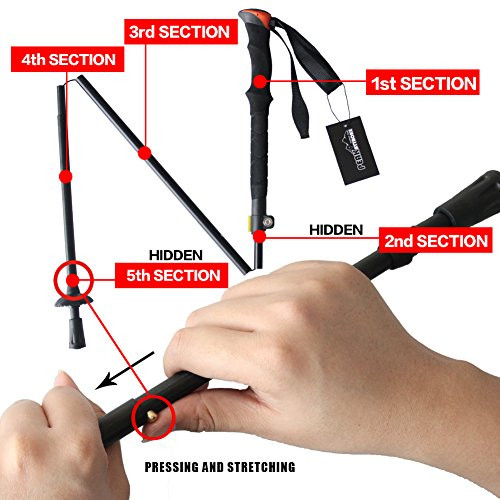 PeakAttacke Folding Shock-Resistant Adjustable Trekking Pole Climbing Walking Hiking Stick, 2 pack (2 Poles )