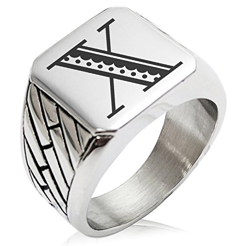 (Two-Tone Stainless Steel Letter X Alphabet Initial Metro Retro Monogram Engraved Geometric Pattern Biker Style Polished Ring, Size 13)