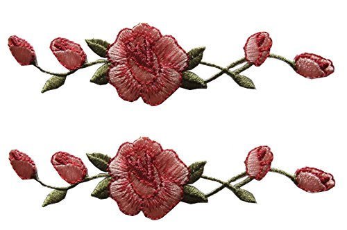 (ETDesign 2 Pcs Applique Patch Rose Flower Embroidery Iron On Flower Appliques For Craft, Sewing, Clothing, Scrapbooking Decorative 1 1/8
