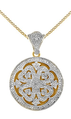 Round White Natural Diamond Locket Pendant Necklace 14k Yellow Gold Over Sterling Silver (1/10 Cttw) ()