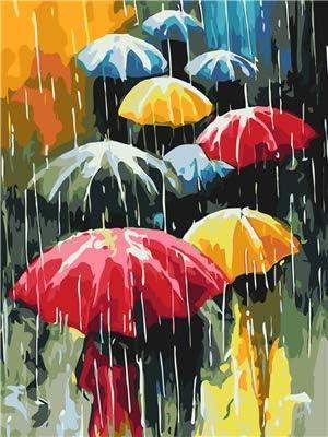 Vacio Pintura por N/úmeros para Adultos DIY Pintura al /óleo sobre Peat/ón con Paraguas en d/ía lluvioso Lienzo Pintar por Numeros para Adultos Principiantes 40x50cm Sin Marco