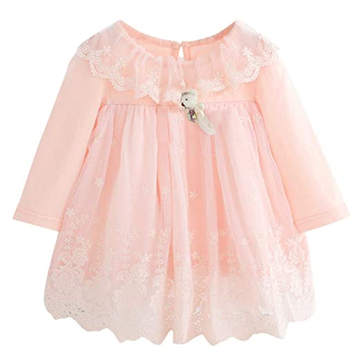 07798cc0d Baby Girl Dress Newborn Cute Embroidery Cotton Birthday Clothes Lace Tulle  with Bear Boy 2 Colors