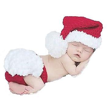 13bb08c95bc Amazon.com   Newborn Baby Girl Boy Crochet Knit Santa Claus Hat Diaper Costume  Photography Prop Set   Baby