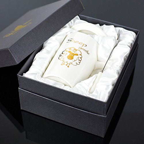Znzbzt Creative Ceramic Cup zodiac Mark Cup with spoon gift box Cup personalized coffee cup milk cup, sheep