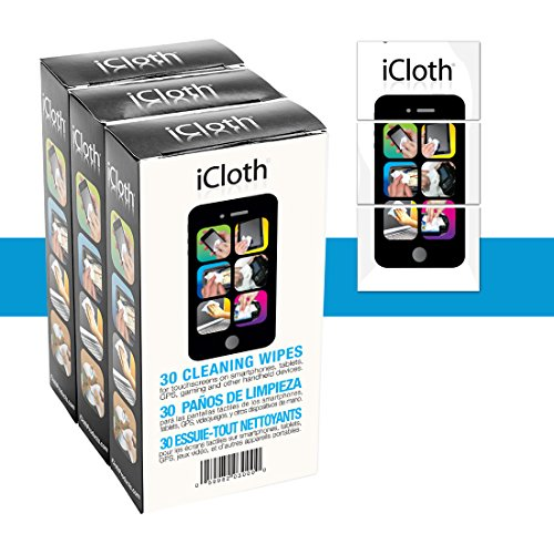 iCloth Lens and Screen Cleaner | 3 x 30 pack bundle (each wipe 9cm x 13cm - 1 ml fill) For use on Laptop and Desktop Screens, Touchscreen Monitors, Automotive Displays, Aviation Displays and more by iCloth