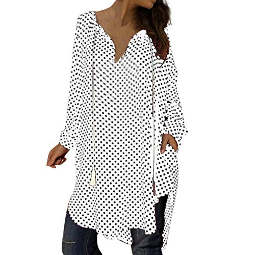 Bestsaly 2019 Women's Plus 5XL Vitality Dress Women Sexy Polka Dot Print V Neck Long Sleeve Dresses Ladies Party Club Dress #,d,XL