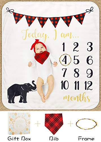Baby Monthly Milestone Blanket for Boy Girl, Mom Newborn Baby Shower Gifts, Thick Fleece for Photography Memory + Bib+ Frame(Elephant Blanket - with Gift Box) -