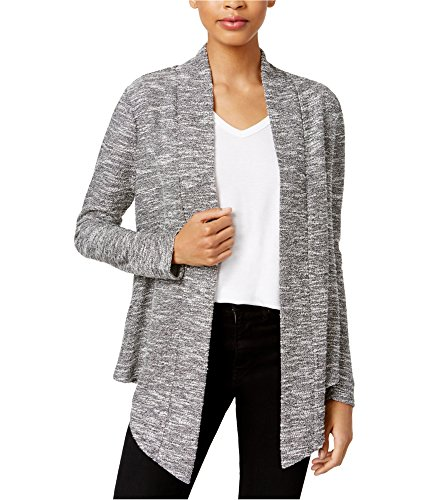 Bar III Womens Asymmetrical Marled Cardigan Sweater Gray M ()
