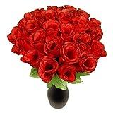 s/o 24-Pack Hedges Rose Red 26cm Artificial Silk Flower Red Rose (0308)
