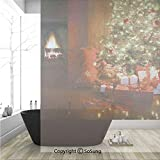 3D Decorative Privacy Window Films,Xmas Scene with Decorated Luminous Tree and Gifts by the Fireplace Artful Image,No-Glue Self Static Cling Glass film for Home Bedroom Bathroom Kitchen Office 36x48 I