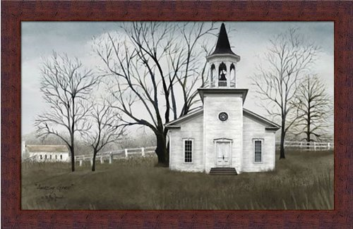Primitive Folk Art Painting (Amazing Grace by Billy Jacobs Primitive Folk Art Country Church 22x14 in Framed Art Print Picture)