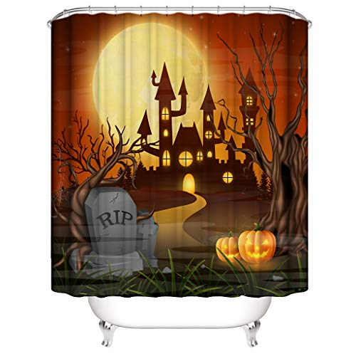 Jessie storee Shower Curtain Halloween Grave 3D Printed Waterproof Stylish Bathroom Curtain Fabric Polyester Colorful Curtain with 12 Hooks for Kids Adults -