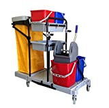 Industrial Housekeeping Janitorial Cart 4 Buckets 1 Wringer 1 Vinyl Bag AF08173