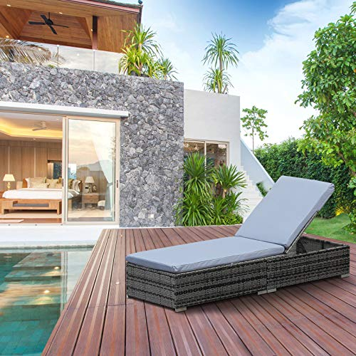 Outsunny Rattan Recliner Sun Bed Lounger Grey
