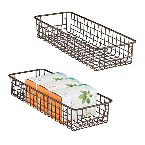 (mDesign Household Wire Drawer Organizer Tray, Storage Organizer Bin Basket, Built-in Handles - for Kitchen Cabinets, Drawers, Pantry, Closet, Bedroom, Bathroom - 16